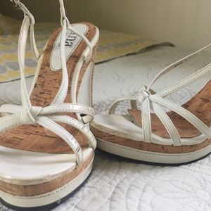 A.N.A. White patent sling back wedges, size 7
